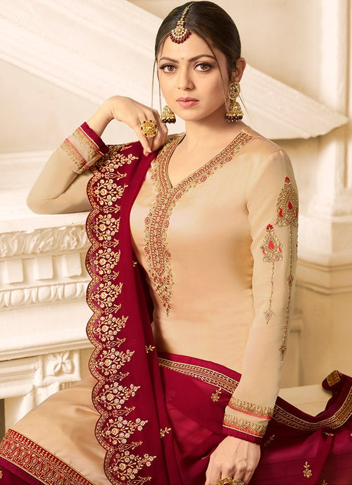 Red And Cream Embroidered Designer Gharara Palazzo Suit