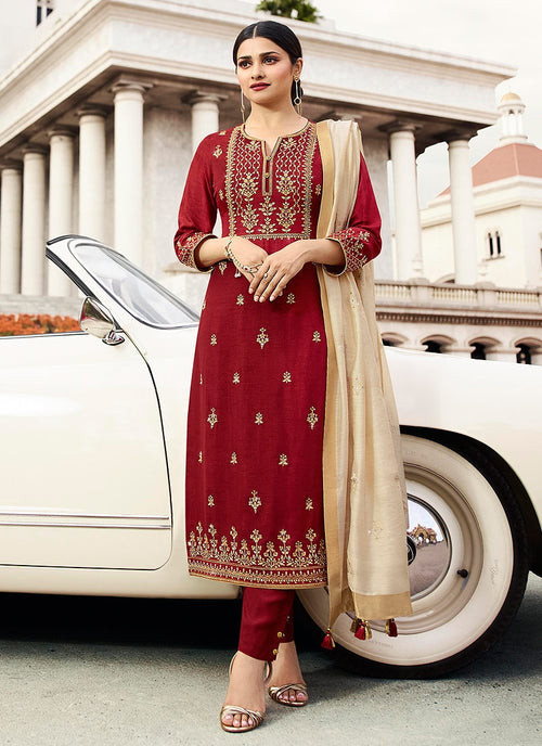 Red And Cream Embroidered Pakistani Pant Suit