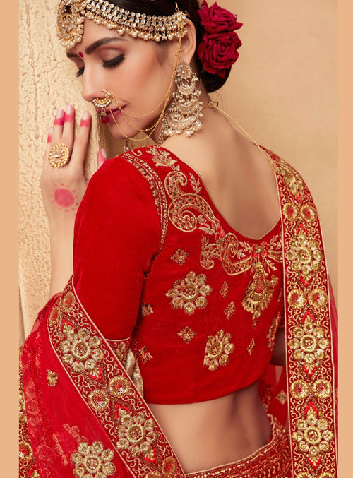 Red And Gold Velvet Embroidered Lehenga Choli