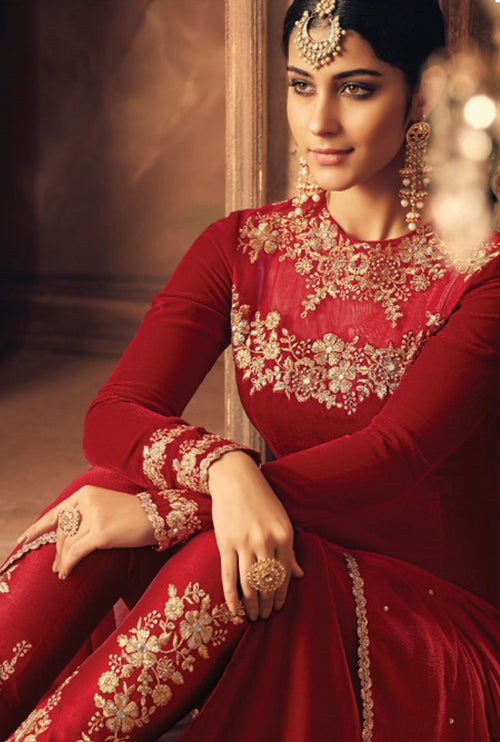 Red And Gold Traditional Embroidered Pant Suit