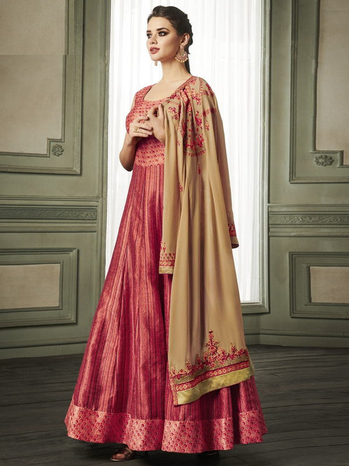 Red And Golden Overcoat Style Embroidered Anarkali Suit