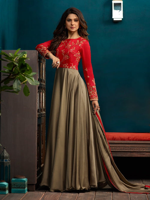 Red And Olive Minimalist Embroidered Anarkali