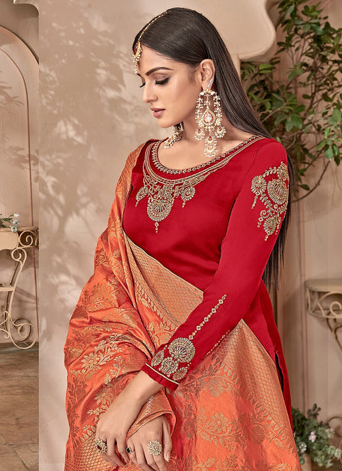 Red And Orange Combination Embroidered Palazzo Suit