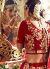 Red And Orange Velvet Hand Embroidered Lehenga Choli