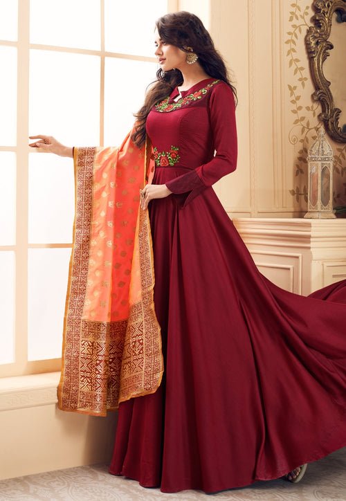 Red And Peach Embroidered Satin Anarkali Suit