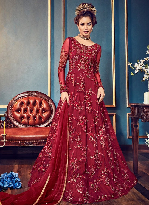 Red Bridal Minimalist Embroidered Flared Anarkali Suit