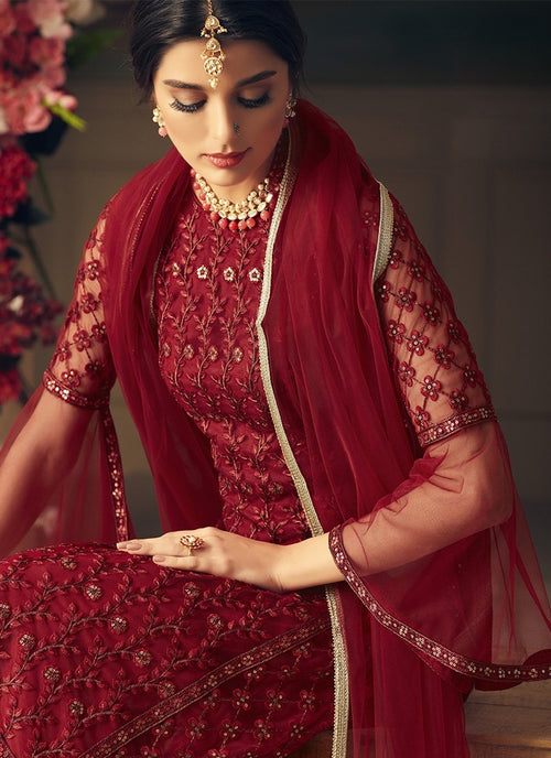 Red Bridal Multi Embroidered Flared Sharara Suit