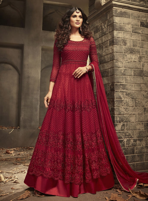 Red Bridal Gown Style Anarkali Suit