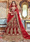 Red Bridal Velvet Hand Embroidered Lehenga Choli