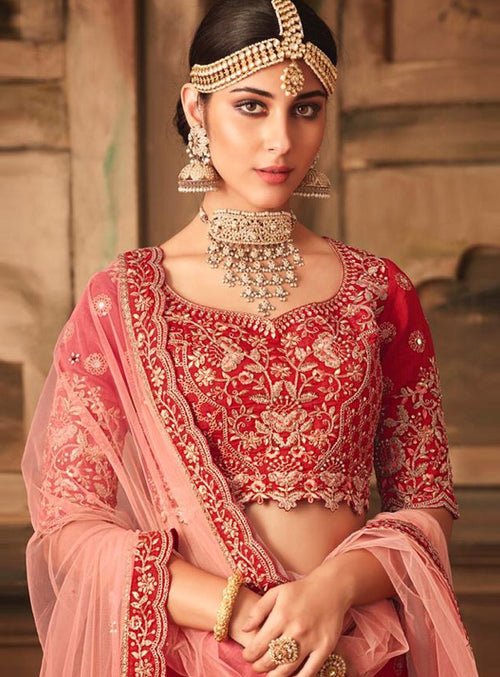 Crimson And Peach Embroidered Designer Lehenga Choli