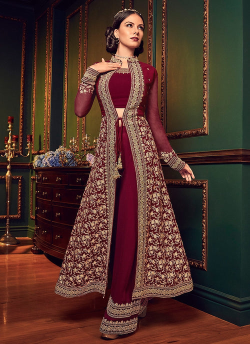 Red Rouge Ethnic Embroidered Jacket Style Palazzo Suit