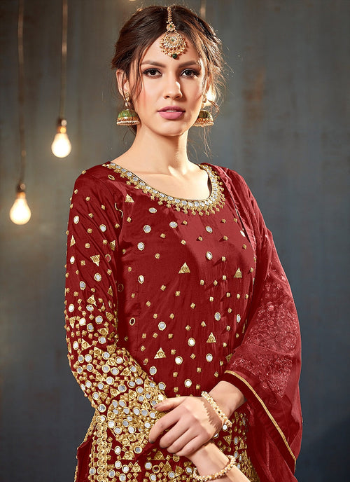 Red Embroidered Traditional Patiala Suit