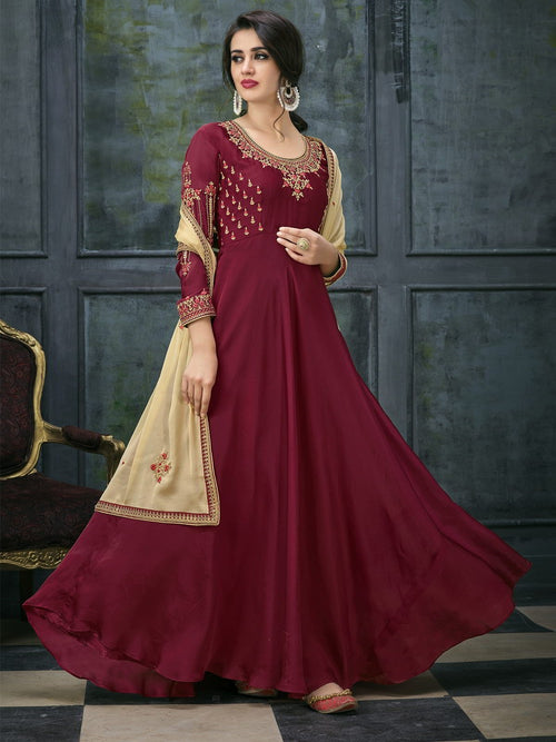 Red Golden Ethnic Embroidered Anarkali Suit