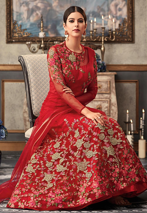 Red Overall Embroidered Flared Anarkali Gown Set
