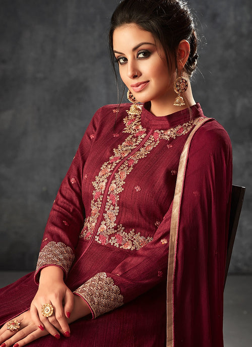 Red Rouge With Minimalist Embroidered Slit Anarkali Suit