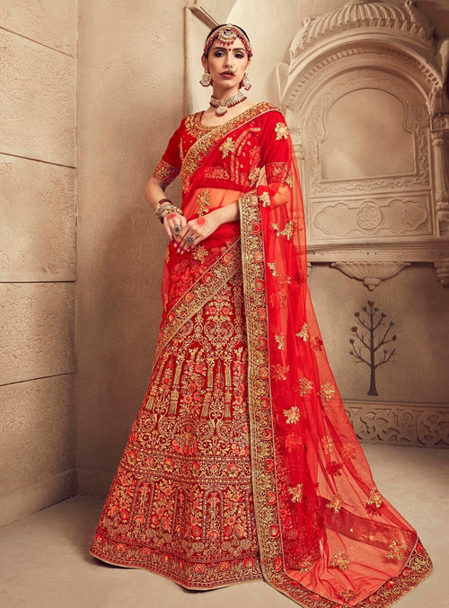 Red Overall Velvet Embroidered Lehenga Choli