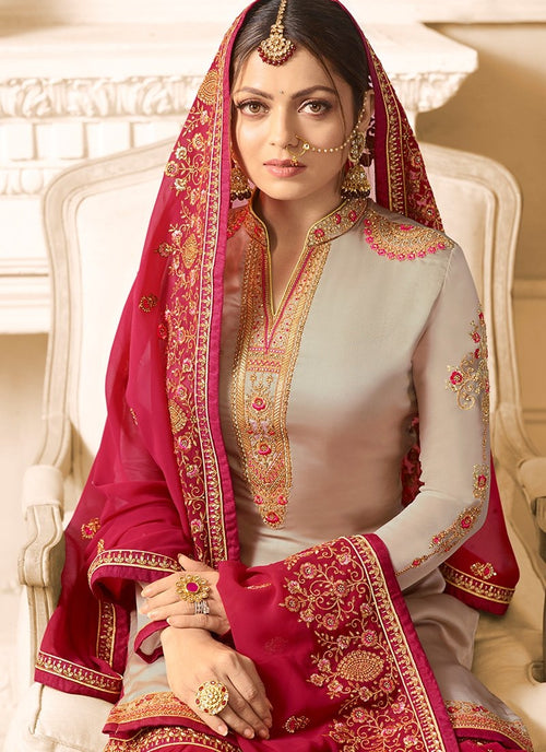 Red With Beige Embroidered Designer Gharara Palazzo Suit