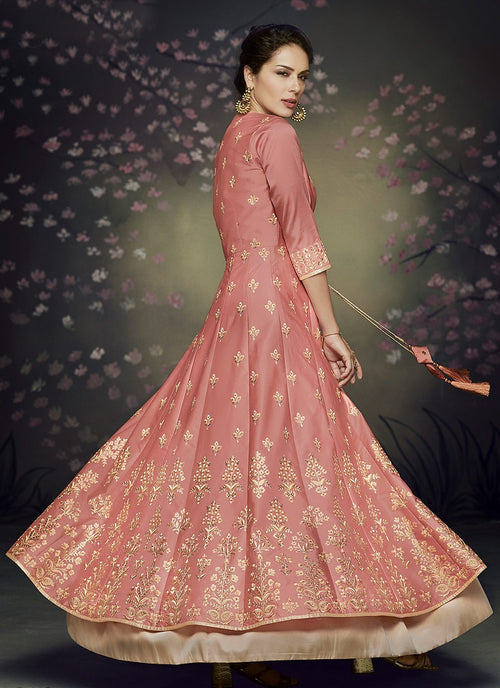 Reddish Rust Butti Embroidered Jacket Style Anarkali Suit