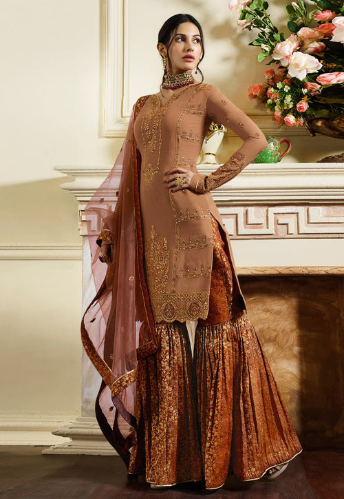 Rustic Orange Traditional Embroidered Gharara Suit