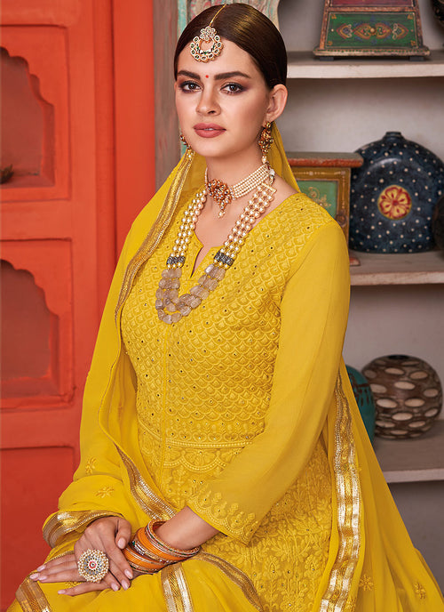 Indian Dresses - Yellow Anarkali Palazzo Suit