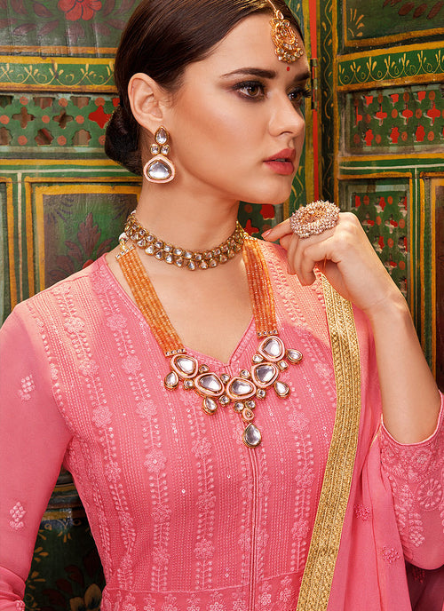 Indian Dresses - Pink Lucknowi Anarkali Palazzo Suit