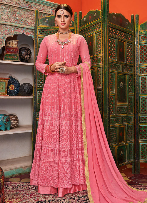 Indian Clothes - Pink Lucknowi Embroidered Anarkali Palazzo Suit