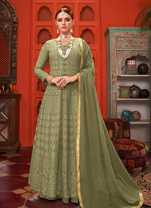 Green Anarkali Palazzo Suit