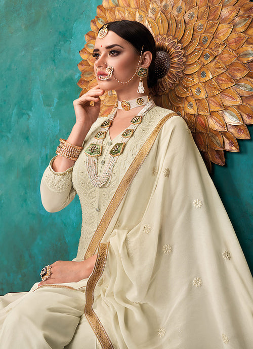 Indian Dresses - Beige Lucknowi Anarkali Palazzo Suit