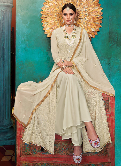 Indian Suits - Beige  Anarkali Palazzo Suit