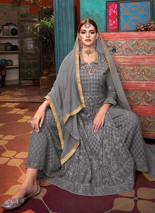 Indian Suits - Grey Palazzo Suit
