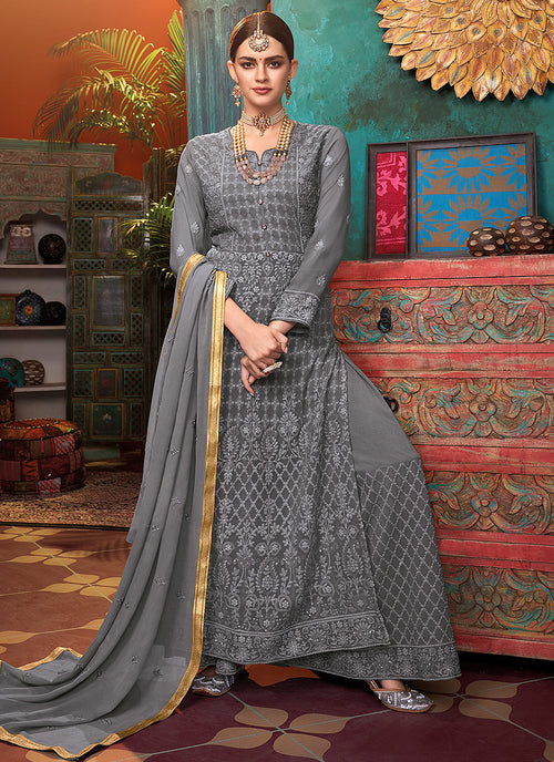 Indian Clothes - Grey Lucknowi Embroidered Palazzo Suit