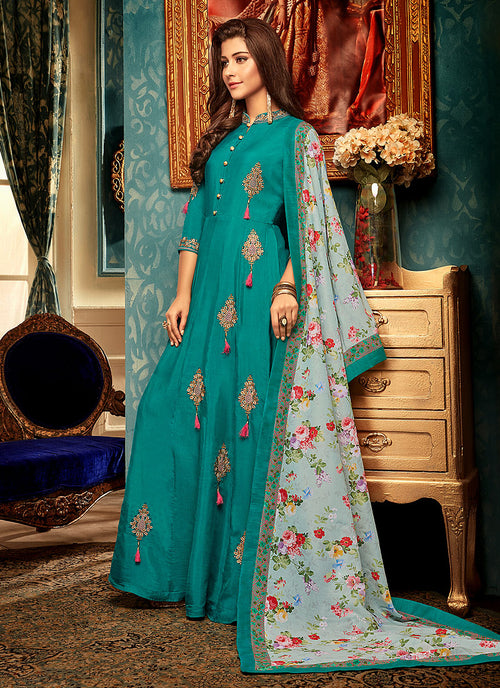 Indian Clothes - Turquoise Multi Embroidered Gown