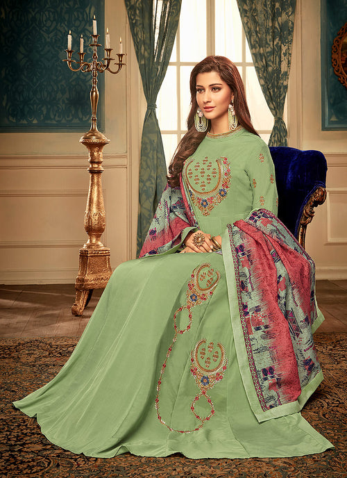 Indian Suits - Green Multi Embroidered Gown