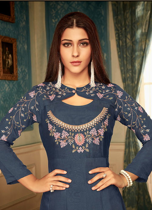 Indian Dresses - Blue Multi Embroidered Gown