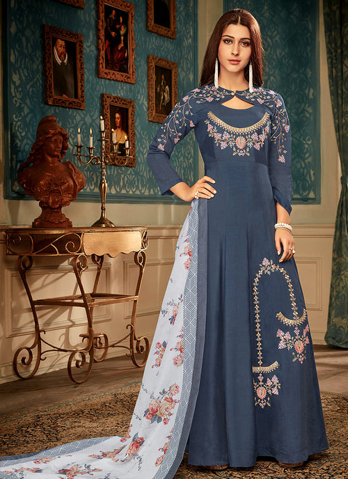 Blue Embroidered Gown