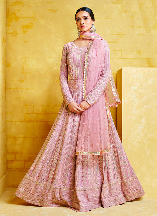 Indian Clothes - Pink Chikankari Embroidered Party Wear Anarkali Suit