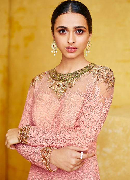 Baby Pink Embroidered Party Wear Anarkali Suit, Salwar Kameez