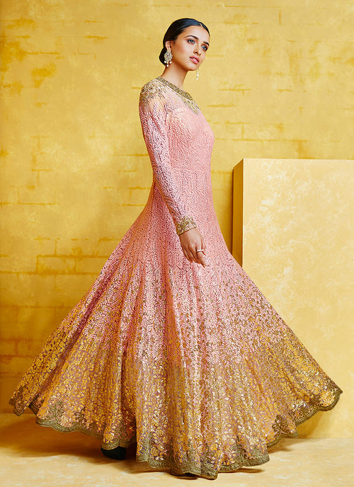 Baby Pink Embroidered Party Wear Anarkali Suit