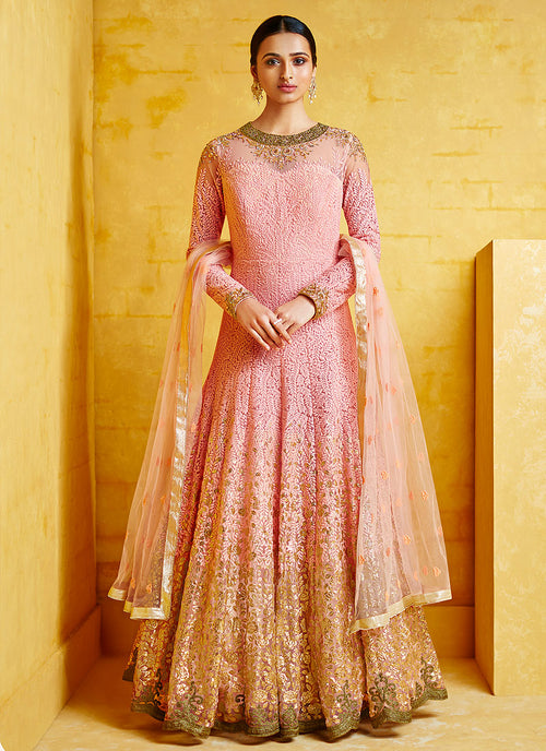 Indian Clothes - Baby Pink Embroidered Party Wear Anarkali Suit
