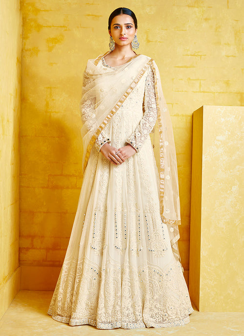 Indian Clothes - Off White Floral Embroidered Party Wear Anarkali Suit