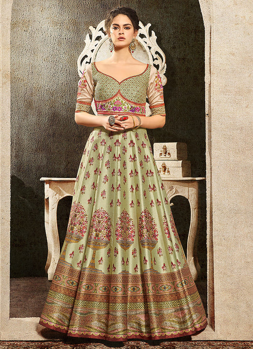Green Multi Embroidered Wedding Lehenga/ Gown, Lehengas