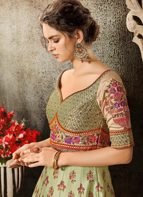 Green Multi Embroidered Wedding Lehenga/ Gown