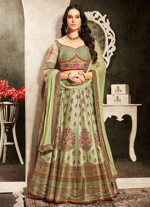 Indian Clothes - Green Multi Embroidered Wedding Lehenga/ Gown