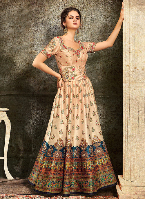 Peach And Pink Embroidered Wedding Lehenga/ Gown, Lehengas