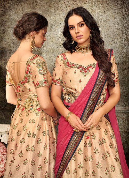 Peach And Pink Embroidered Wedding Lehenga/ Gown