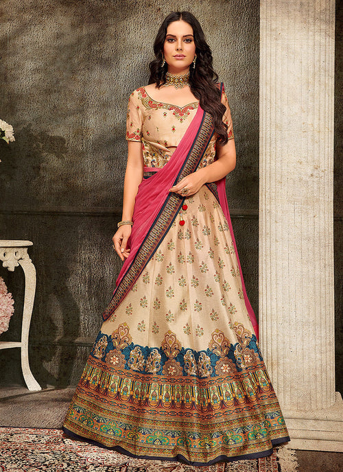 Indian Clothes - Peach And Pink Embroidered Wedding Lehenga/ Gown