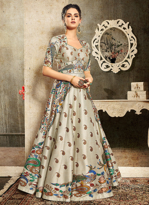 Off White And Yellow Embroidered Wedding Lehenga/ Gown, Lehengas