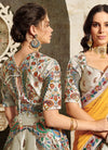 Off White And Yellow Embroidered Wedding Lehenga/ Gown