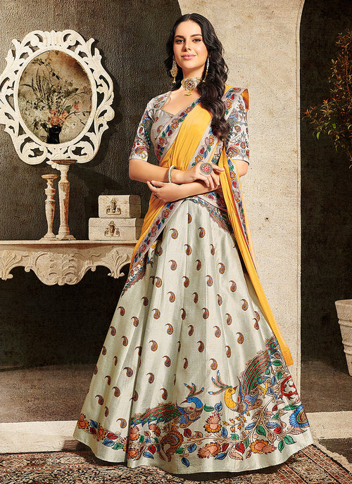Indian Clothes - Off White And Yellow Embroidered Wedding Lehenga/ Gown