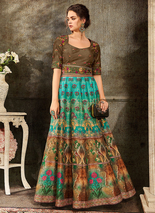 Turquoise And Brown Embroidered Wedding Lehenga/ Gown, Lehengas